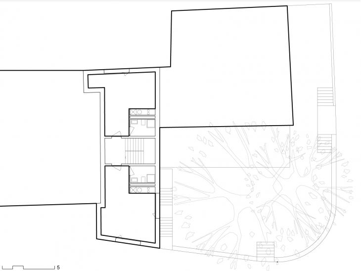 Projet d'un petit immeuble de logements avec une arcade commerciale, Châtelaine, Genève. Maître de l'ouvrage : privé.